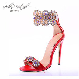 Wholesale Sexy Sandals For Women - wedding shoes for women 2017 summer shoes sexy sandals 12cm high heels cover heel ankle strap plus size open toe rhinestone stilettos woman