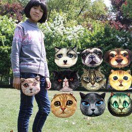 Wholesale Shoulder Cat Dog - 3D Cat Bag Print Cute Cat Dog Animals Pattern Portable Corduroy Children Coin Purse with Long Shoulder Strap Crossbody Bags KKA2918