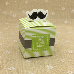 Wholesale Chocolate Shower Favors - Wholesale- 1pc Stripe My little Man Cute Mustache Pattern Baby Shower Candy Box Birthday Party Supply Chocolate Box Favors 5.5*5.5*5.5cm