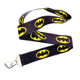 Wholesale Keychain Id Card Holder - Hot! 20pcs Super Hero Batman Logo Yellow Black Neck Lanyards ID Card Badge Holder Keychain Neck Keyring
