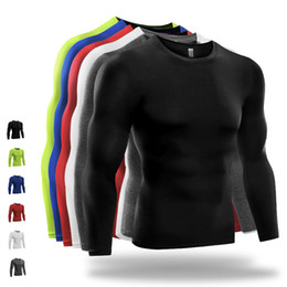 Wholesale Men Shirt Fabric - 2016 New Fitness Running Shirt Mens Sports tights Drying Long-Sleeve Tshirt with Woolen fabric Polyester Spandex XXL Workout Clothes Men 521