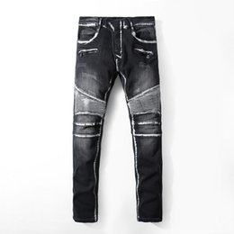 Wholesale Boys Size White Pants - Famous Brand Pierre Rock Biker Jeans Men Ripped Denim Tearing Jeans Trousers Black Cheap Mens Jeans Casual Pants Ruched Boy Jean