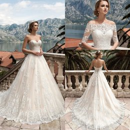 Wholesale detachable lace jacket - 2017 Vestidos De Noiva Wedding Dress with Detachable Jacket Floor Length Appliqued Lace Wedding Gown Custom Made Bridal Gowns