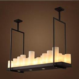Wholesale Works Suspension - Modern Pendant Lamp Remote Control Chandelier Candle Light Fixture Suspension Lamp Rectangular Wrought Iron Pendant Light
