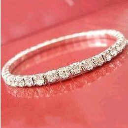 Wholesale Rhinestone Crystal Cuff - Hot sale Elastic 1 Row Sliver plated Crystal Bangle Bridal Bracelets Party Jewelry 2017 Free shipping