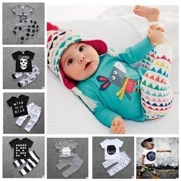 Wholesale Kids Suits Wholesale - Baby Clothes Kids Ins T Shirts Pants Boys Summer Tops Shorts Girls Letter Print Shirts Trousers Fashion Animal Suits Casual Outfits KKA2098