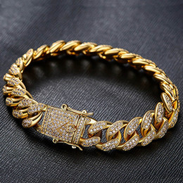 Wholesale real hip hop gold chains - 18K Real gold plated Hiphop Luxury Cubic Zirconia Miami Triple Lock Bracelet Men Hip Hop Full CZ Cuban Link Box Clasp Bangle Male Jewelry