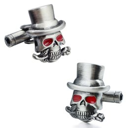 Wholesale Skull Tie Clips - Brand High Quanlity Personalize Red Crystal Eyes Skull Pattern Brushed Surface Luxury Cufflinks For Mens Accessories