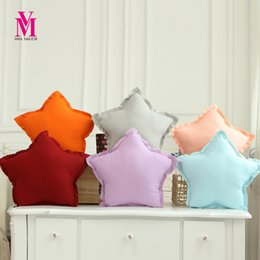 Wholesale Cute Babies Red Roses - Wholesale- Five-pointed Star Pillow Creative Soft Cotton Plush Stuffed Blue Red Decorative Star Pillows For Baby Cute Children Toy