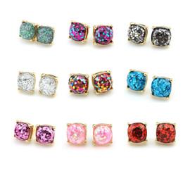 Wholesale Glitter Studs - Hot Sale Kate Style New York Opal Glitter Studs Gold Rainbow Square Glitter Stud Earrings 2017 Women Fashion Jewelry Opal Spade Earrings