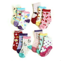 Wholesale Baby Socks Dhl - ( 12 pairs lot ) cotton Baby boys girls anti skid rubber slip-resistant floor socks cartoon kids socks 1-3 years by DHL 0601298