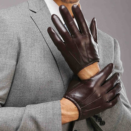 Wholesale Gloves Genuine Leather - Wholesale- 2017 Top Fashion Men Genuine Leather Gloves Wrist Sheepskin Glove For Man Thin Winter Driving Five Finger Rushed M017PQ