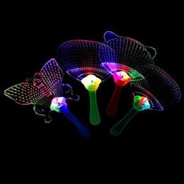 Wholesale Light Toy Fan - LED Colorful Plastic Flashing Hand Fan Night Glowing light flashing Fan Kids Toys Party Decoration Halloween Christmas