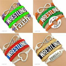 Wholesale Dream Infinity Bracelets - (10 Pieces Lot) Infinity Love Wrestling Bracelet Faith Dream Heart You Are Special Wrestler Charm Bracelet Leather Wrap Drop Shipping