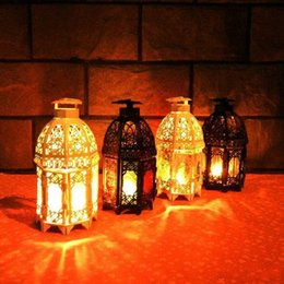 Wholesale Black Tea Light Candles - Romantic castle retro Morocco iron candle holders Christmas ornament wedding decoration Valentine's Day gifts white black color