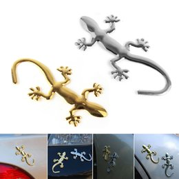 Wholesale 3d Bumper Stickers - Wholesale Personalized 3D Metal Gecko Funny Car Stickers Decals Car Emblem Bedges Styling Bumper Stickers CDE_00N