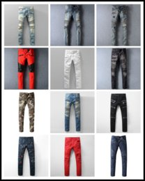 Wholesale American Cotton Trousers - Designer Hole Men Biker Jeans Classic Straight Jeans Wash Cowboy Slim Denim Trousers Skinny Pants Casual Mens Ripped Jean Motorcycle Jeans