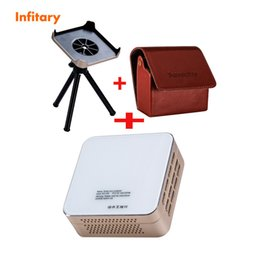 Wholesale Pocket Tripod - Wholesale-P96 projector Smart HD LCD LED 3D Mini Android 4.4 Portable Pocket Multi Use Wifi DLP +leather case and Supporting tray +Tripod