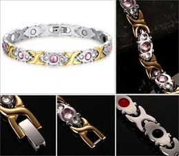 Wholesale Womens Stainless Steel Bangle - 22cm Womens Titanium Stainless Steel Magnetic Therapy Bracelet with Rhinestone Gold Elegant Therapy Bangle Jewelry Health Bracelet B807S