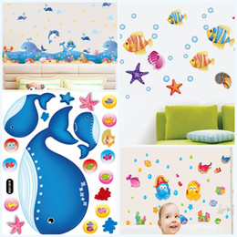 Wholesale Chinese Style Bathrooms - 2 6sj4 Under The Sea Wall Decals Baseboard Ocean Friends Wall Decal Marine Organism Walls Stickers Creative Mural Painting For Children R