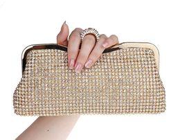 Wholesale Ring Rhinestone Clutch - NEW Rhinestones Women Clutch Bags Diamonds Finger Ring Evening Bags Crystal Wedding Bridal Handbags Purse Bags Black Gold Silver