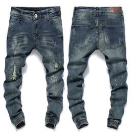 Wholesale Mens Harem Tapered - Men Famous Brand Mens Ripped Jeans Slim Fit Vintage Retro Distressed Harem Jeans Homme Tapered Denim Pants Beam