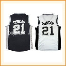Wholesale Free Tim - 21 Tim Duncan Basketball Jerseys Men's 100% Stitche Embroidery Tim Duncan Throwback Jersey S-XXL High-quality Fast Free Shipping