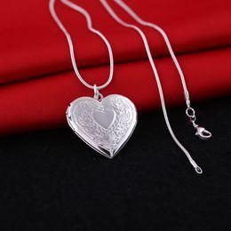 Wholesale Silver Bib Jewelry - Fashion Heart Shape Picture Photo Frame Locket Necklaces Pendants Bib Women Men Jewelry Birthday Lover Gifts Girl Bridal b632