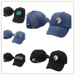 Wholesale Bad Snapback - Wholesale 2017 distressed Boo Mario Ghost black cowboy bad hiss Mario Ghost dad hat hip-hop baseball caps snapback hats for men women