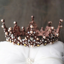 Wholesale High Wedding Crown - 2017 Wedding Bridal Crown Hair Accessories Baroque Vintage Crystal Shiny Rhinestone Pearls Headwear Evening Headband Hair Accessories High
