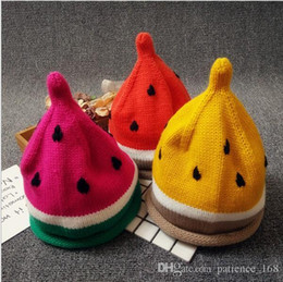 Wholesale Watermelon Hat Girls - 3 colors New arrivals Watermelon design caps Children Handmade winter warm boy girl Hat Handmade Watermelon hat Kids Hand Knitted Hat