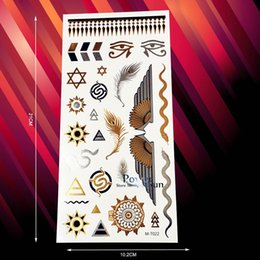 Wholesale Eye Angels - Wholesale- 1PC Temporary Tattoo Gold Silver Egypt Totem Eye Of God Angel Wing Design Waterproof Feather Flash Tattoo Indian Sun Snake PMT22