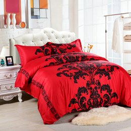 Wholesale Comforters King Size Wholesale - DHL 3Pcs King Size No Fading Luxury Palace Flower Bedding Set Printing Bedding Sets Soft Solid Cotton Duvet Cover Pillowcase Comforter