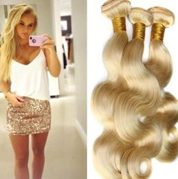 """Wholesale Cheap Hair Extensions China - Blonde #613 Brazilian Virgin Hair body wave 8""""-30"""" Cheap Human Hair Extensions hair weft, made in china"""