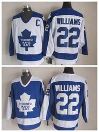 Лучшие классические хоккейные майки онлайн-Урожай Торонто Maple Leafs хоккей Джерси 22 тигр Уильямс Винтаж классический лучшее качество сшитые вышивка логотип S-XXXL