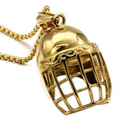Wholesale Titanium Baseball Necklaces For Men - HIP Hop Bling Gold-color Titanium Stainless Steel Punk Gothic Baseball Cap Helmet Pendants Necklaces for Men Jewelry