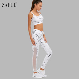 Wholesale Women S White Yoga Leggings - 2Pcs Women Yoga Sets Fitness Bra+Pants Leggings Set Gym Workout Sexy Sports Wear Mesh Patchwork Leggings Running Clothing