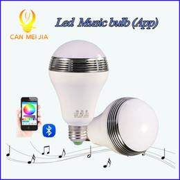 Wholesale E27 12 W - Free Shipping RGB RGBW Wireless bluetooth speaker 12 w led mucis bulb Audio Speaker Music Playing Lighting With APP