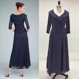 Wholesale Modest Tea Length Wedding Dresses - Real Image Dark Navy Custom Colors Tea Length Mother of the Bride Dresses with Sleeve V Neck Ruched Modest Groom Wedding Guest Dress