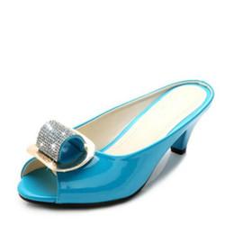 Wholesale Low Heel Strap Shoes - Fashion Women Leather Sandals Summer Rhinestones Open Toe Heels Slip on Ladies Slipper Shoes Big Size