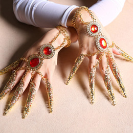 Wholesale Indian Bollywood Dancing - Thousands Hands Guanyin India Dancewear Bollywood Fingernail Accessories Dance Bracelets Gold Indian Jewelry Bracelets For Adult ,Children