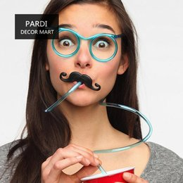 Wholesale Eyeglasses Drinking - Wholesale-Hot funny creative plastic straw mustache eyeglasses straw drinking straw bar accessories 1pc lot