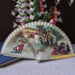 Wholesale Wholesale Japanese Accessories - Chinese Japanese Folding Hand Fan Fashion Accessories Vintage Retro Style Bamboo Wood Sandal Fans Wedding Favors Home Decor