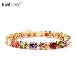 Wholesale champagne jewelry sets - LUOTEEMI Brand Chain Link Bracelet Champagne Gold-Color Multicolor Shape AAA Zircon Stone Charm Bracelet for Women Jewelry