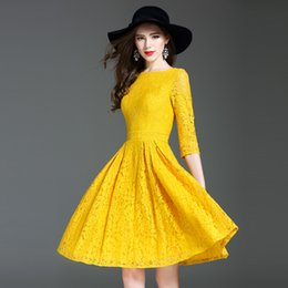 Wholesale Women Daily Work Dress - De Fee European Woman 2017 Autumn New Elegant Lace Dress Slim Fashionable A-Line Yellow and Red Daily Work Lady Dress