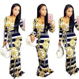 Wholesale Striped Chiffon Maxi Dress - New arrive best quality 2016 full sleeve maxi long dress sexy print dresses v-neck bandage dress