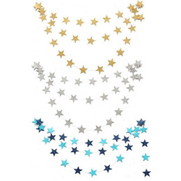 Wholesale Paper Gold Stars - New 4M Paper Garlands Birthday Wedding Mariage Party Room Door Festival Star Decoration Gold Blue