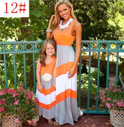 Wholesale Orange Baby Dresses - free fedex ship summer mother daughter dresses family look clothing mom and daughter dress weave baby momclothes mommy and me clothes
