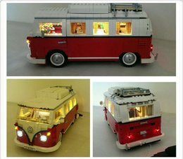 Wholesale Model Cars Building Kits - Lepin 21001 the T1 Camper Van Model Building Blocks with led light kit Compatible 10220 Technic car Toys with led light