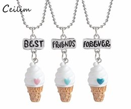 Wholesale Ice Cream Baby Set - 3 pcs set Food Miniature Ice Cream Necklace Best Friend Forever Lovely Heart Friendship Creative BFF Keepsake Christmas Baby Jewelry Gift